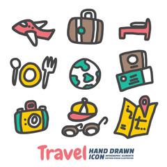 Travel Hand Drawn cartoon vector symbols and icon set, Design Elements. Vector Illustration.