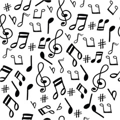 music note pattern with doodle style