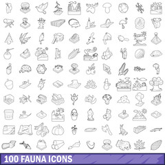 100 fauna icons set, outline style