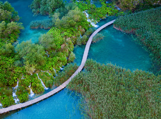 aerial view in the Plitvice Lakes National Park