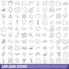 100 java icons set, outline style