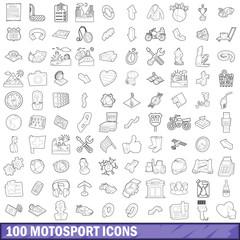 100 motosport icons set, outline style