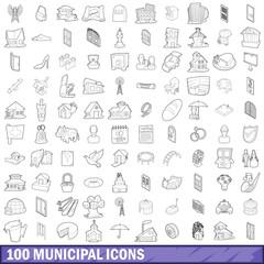 100 municipal icons set, outline style