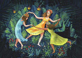 Three girls dancing in the forest