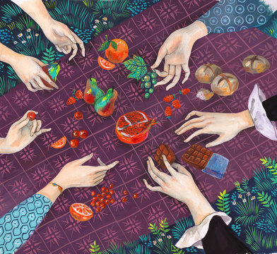 Illustration of hands picking up fruits and chocolate from picnic blanket