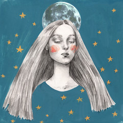 Woman with moon on her head