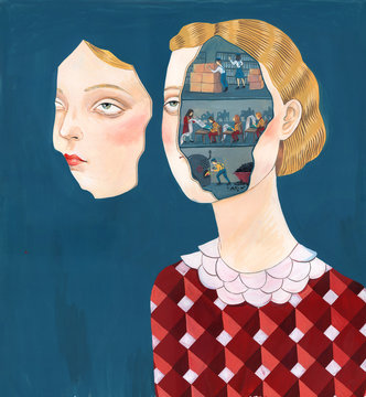 Woman with people inside her head