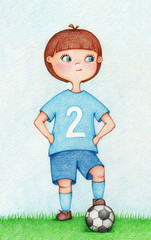 hands drawn illustration of boy in sportswear playing football by the color pencils. Character design. Creative people professions collection