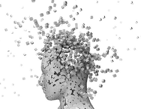 Shattered person head, stress and headache abstract idea.