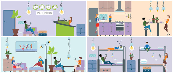 Hostel interior set. Reception, kitchen, lounge and bedroom with hotel customers. Vector illustration in flat style.