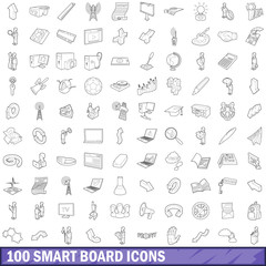 100 smart board icons set, outline style