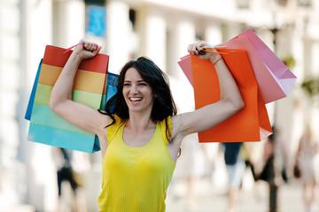 Beautiful Young Women Having Fun in Shopping