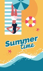 Summer beach background. Summer holidays and vacations banner with girl sunbathing,  beach umbrella and waves. Vector illustration