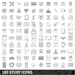 100 study icons set, outline style