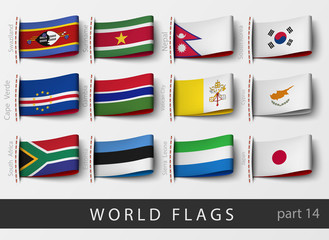 Vector set of flag labels