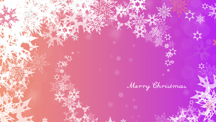 Christmas background with white snowflakes and Merry Christmas text - light version