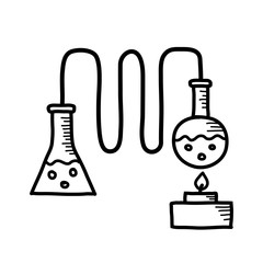 Distillation kit drawing on white background