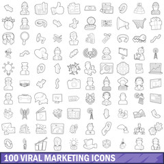 100 viral marketing icons set, outline style