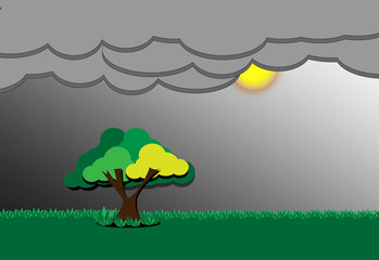 green grass, tree,  sun and dark sky