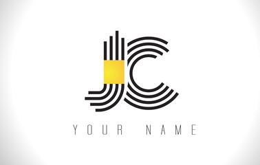 JC Black Lines Letter Logo. Creative Line Letters Vector Template.