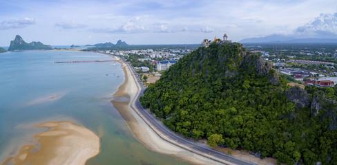 aerial view of prachuap khiri khan harbor southern of thailand
