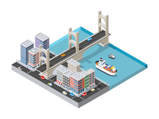 City boulevard with a port with cruise boat and naval ships nautical transport on the sea for travel vacation tourism illustration. Isometric set of transportation objects