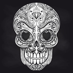 Hand drawn mexican skull on chalkboard background. Vector illustration