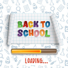 Back to school loading curved banner.