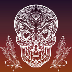 Hand drawn ornate decorative hand sketched mexican skull and feathers. Vector illustration