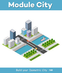 Isometric vector illustration of a modern city with a marina and river embankment. Dimensions of skyscrapers, houses, buildings and urban areas with transport routes, boats and ships