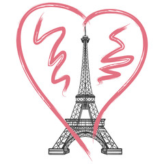 Grunge France poster. Vector hand drawn heart and Eiffel tower