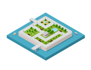 Isometric vector illustration of a modern city with a marina and river embankment. Dimensions of skyscrapers, houses, buildings and urban areas parks with transport routes, boats and ships