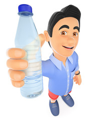 3D Young man in shorts with a bottle of water