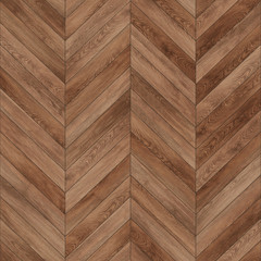 Obraz Seamless wood parquet texture (chevron brown) - fototapety do salonu