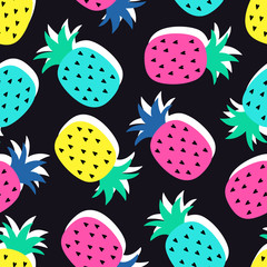 Vector seamless pineapple fruit crazy colors pattern. Very bright colorful cute cartoon background (wallpaper, fabric). Childish style, abstract pop art