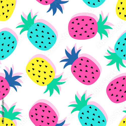 Vector Seamless Pineapple Fruit Crazy Colors Pattern Very Bright Colorful Cute Cartoon Background Wallpaper