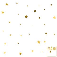 Star pattern. white, background, gold, gift wrap. Vector illustration.