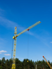 crane on blue sky background in the day