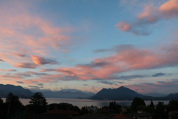 Dusk over Lake Maggiore view from Stresa in summer, Italy