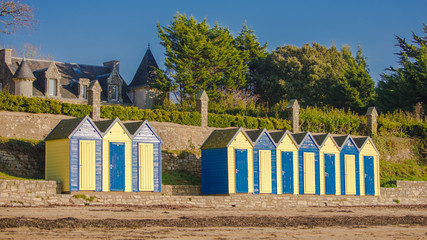 Bathing huts on the beach, Grande Plage, ile aux Moines in Brittany