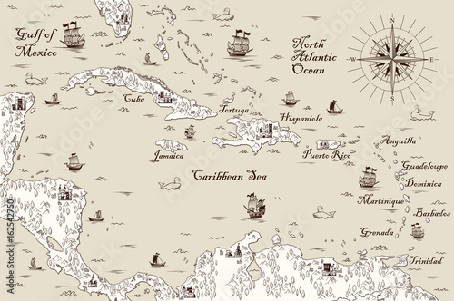 Old map of the Caribbean Sea, Vector illustration\
