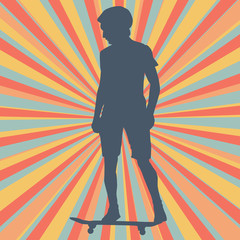 Boy skateboarding vector background
