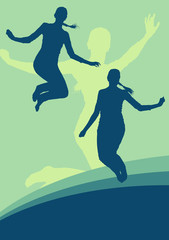 Woman jump active happiness expression vector background