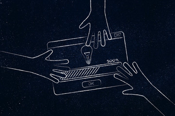 hands grabbing a pop-up message with idea