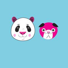 Illustration of icons Panda and dog