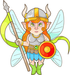 cartoon fairy warrior, funny image