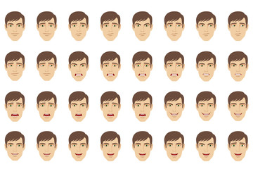 Emotions set. Businessman with different emotions and facial expressions
