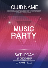 Music party EDM sound triangle poster. Electronic club fun music. Musical event disco trance sound. Night party invitation. DJ flyer poster.