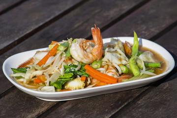 Thai food, seafood with vegetable spicy salad