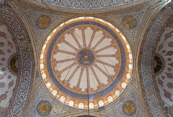 Decorated ceiling at Sultan Ahmed Mosque (Blue Mosque) showing the main big dome, Istanbul, Turkey